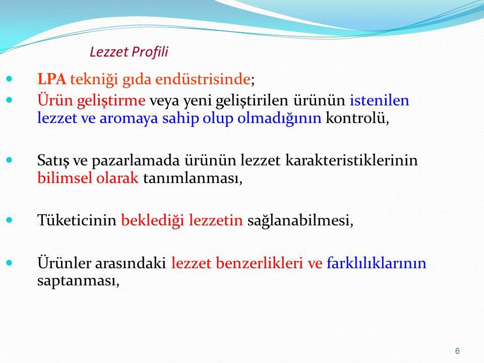 27 Lezzet Profili Lezzet şiddetinin derecelendirilmesi: Bu terim ürünün tüm lezzetinin şiddeti veya ürünün genel lezzet etkisini ifade etmektedir.