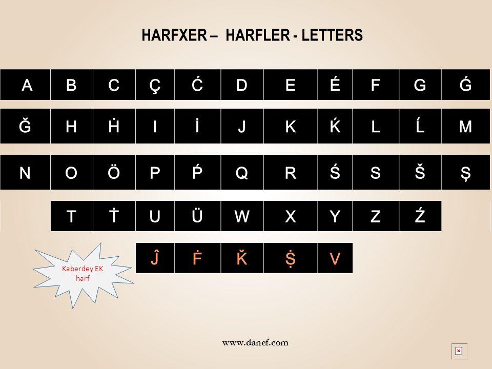 HARFXER – HARFLER - LETTERS ABCÇĆDEÉFGǴ ĞHḢIİJKḰLĹM NOÖPṔQRŚSŠŞ TṪUÜWXYZŹ ĴḞǨṨV www.danef.com Kaberdey EK harf