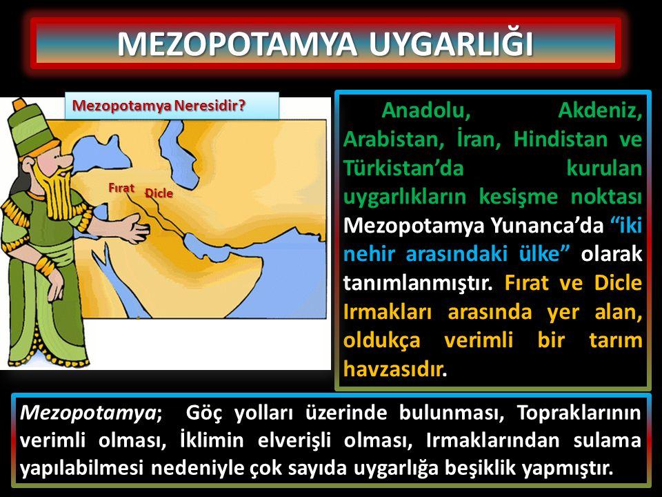 """Anadolu, Akdeniz, Arabistan, İran, Hindistan ve Türkistan'da kurulan uygarlıkların kesişme noktası Mezopotamya Yunanca'da """"iki nehir arasındaki ülke"""""""