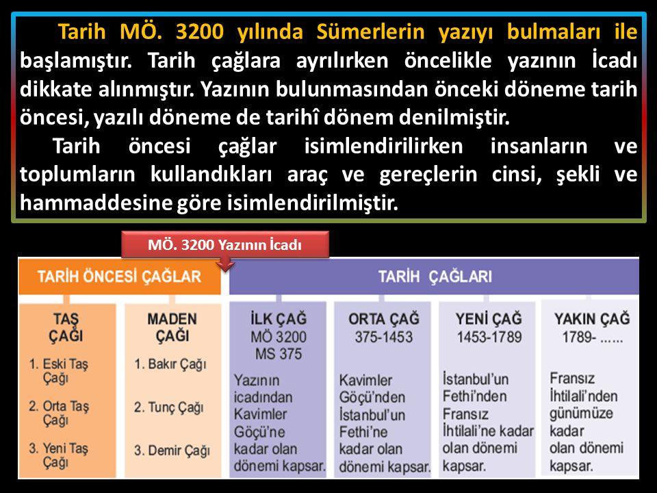 Tarih MÖ. 3200 yılında Sümerlerin yazıyı bulmaları ile başlamıştır. Tarih çağlara ayrılırken öncelikle yazının İcadı dikkate alınmıştır. Yazının bulun
