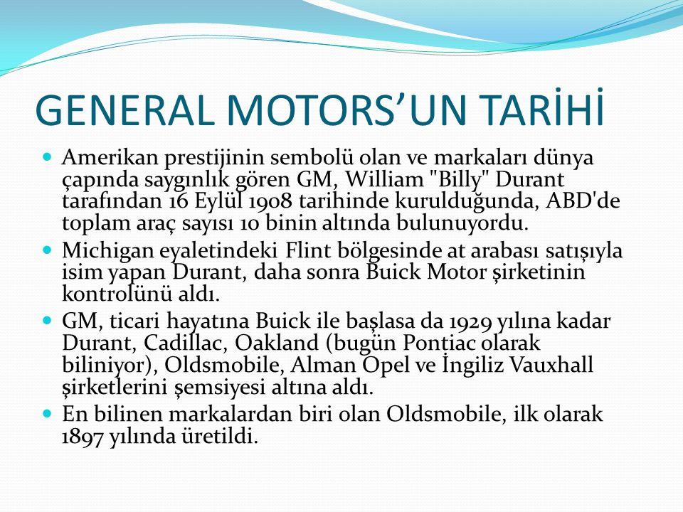 GENERAL MOTORS'UN TARİHİ Amerikan prestijinin sembolü olan ve markaları dünya çapında saygınlık gören GM, William
