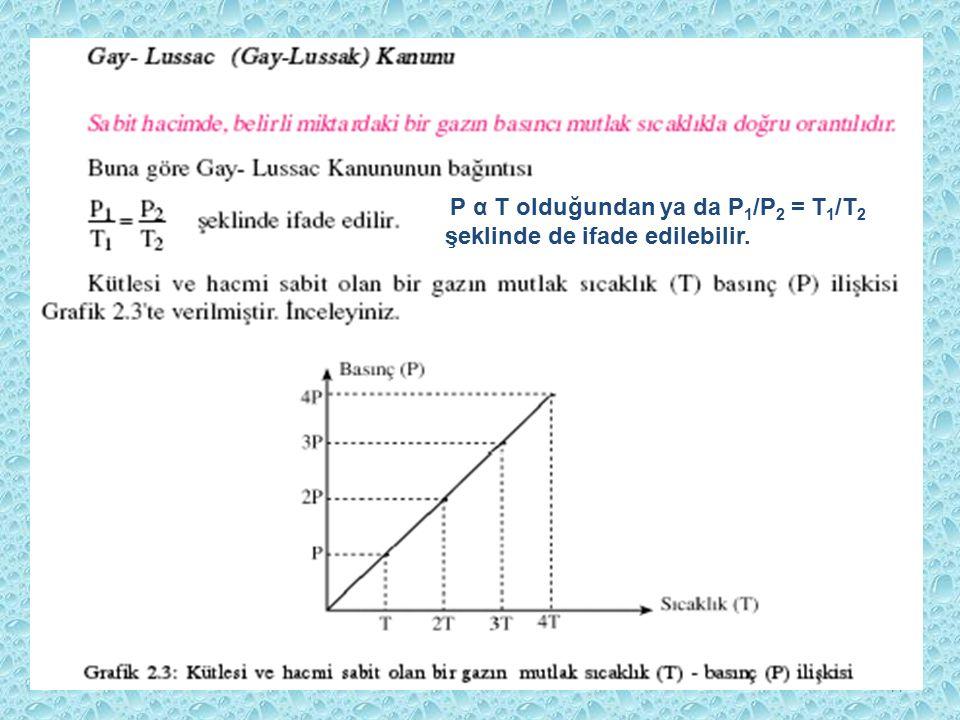 44 P α T olduğundan ya da P 1 /P 2 = T 1 /T 2 şeklinde de ifade edilebilir.