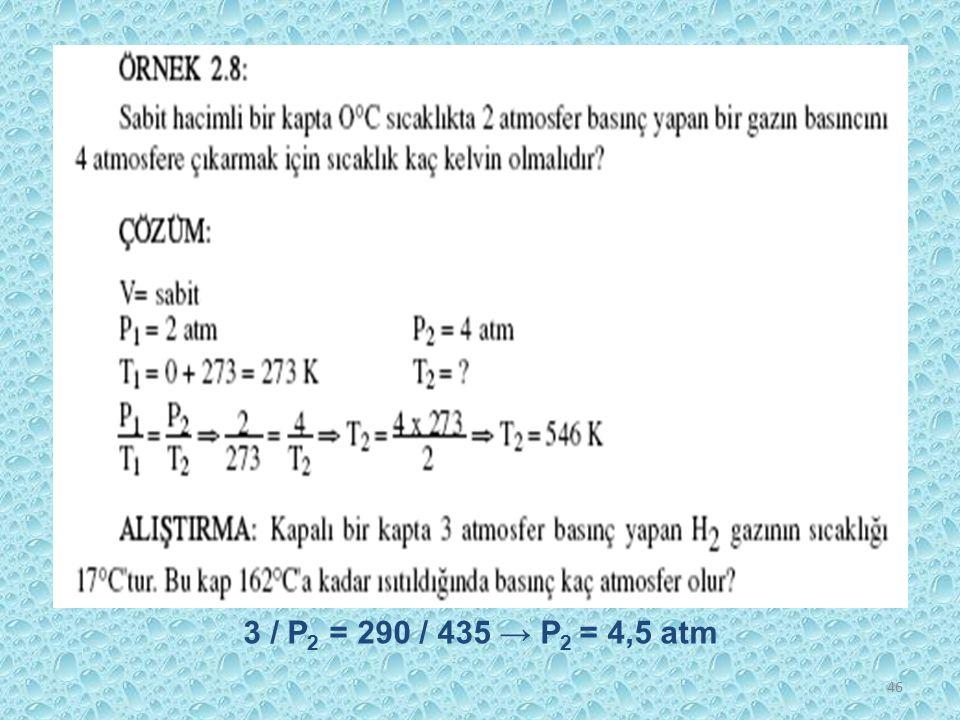 46 3 / P 2 = 290 / 435 → P 2 = 4,5 atm