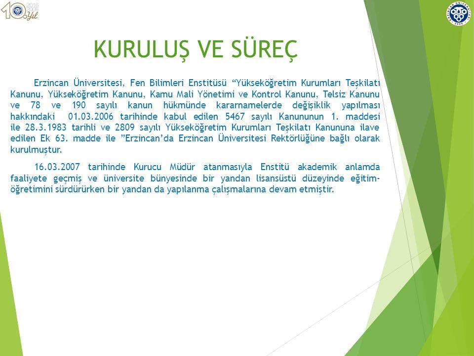Erzincan Üniversitesi, Fen Bilimleri Enstitüsü Yükseköğretim Kurumları Teşkilatı Kanunu, Yükseköğretim Kanunu, Kamu Mali Yönetimi ve Kontrol Kanunu, Telsiz Kanunu ve 78 ve 190 sayılı kanun hükmünde kararnamelerde değişiklik yapılması hakkındaki 01.03.2006 tarihinde kabul edilen 5467 sayılı Kanununun 1.