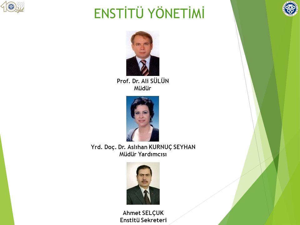 BAŞKAN Prof.Dr. Ali SÜLÜN Enstitü Müdürü Doç. Dr.