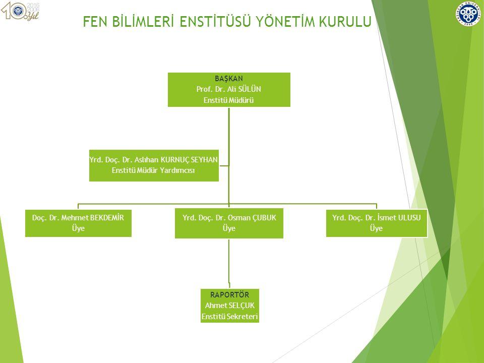 BAŞKAN Prof. Dr. Ali SÜLÜN Enstitü Müdürü Doç. Dr.