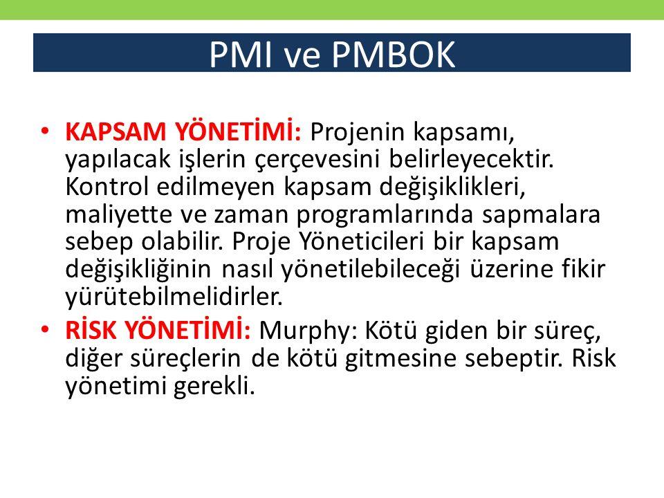 PMI ve PMBOK KAPSAM YÖNETİMİ: Projenin kapsamı, yapılacak işlerin çerçevesini belirleyecektir.
