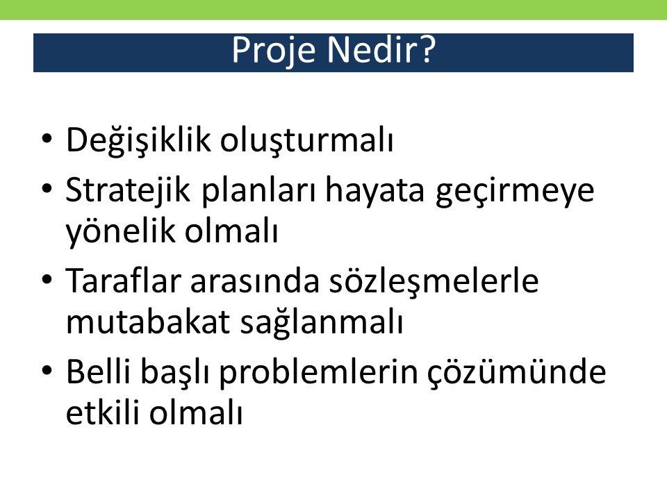 Proje Nedir? Her projede mutlaka FAALİYETLER KAYNAKLAR KISITLAR olarak belirlenmiş 3 faktör vardır.
