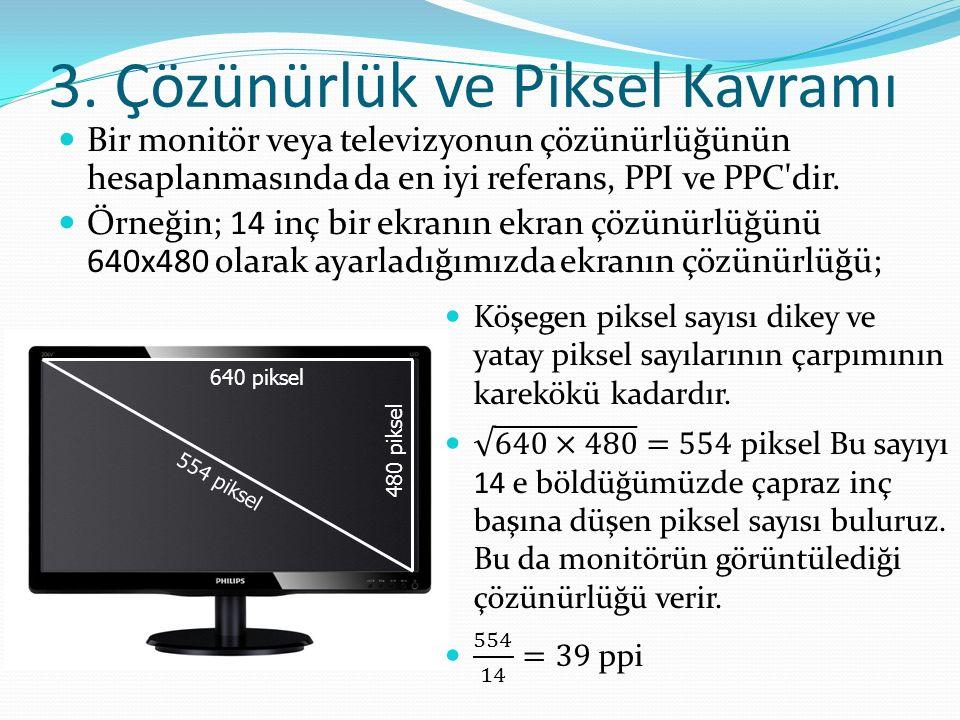 3. Çözünürlük ve Piksel Kavramı Bir monitör veya televizyonun çözünürlüğünün hesaplanmasında da en iyi referans, PPI ve PPC'dir. Örneğin; 14 inç bir e