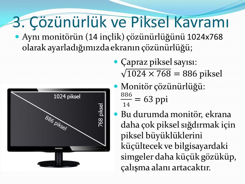3. Çözünürlük ve Piksel Kavramı Aynı monitörün (14 inçlik) çözünürlüğünü 1024x768 olarak ayarladığımızda ekranın çözünürlüğü; 1024 piksel 768 piksel 8