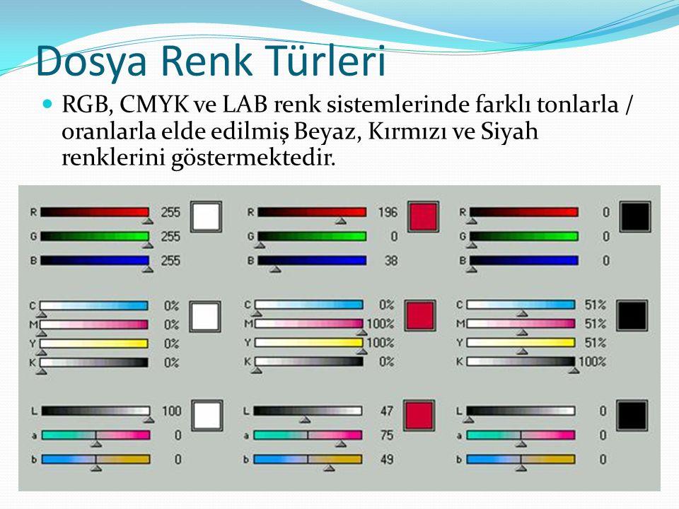 Dosya Renk Türleri RGB, CMYK ve LAB renk sistemlerinde farklı tonlarla / oranlarla elde edilmiş Beyaz, Kırmızı ve Siyah renklerini göstermektedir.