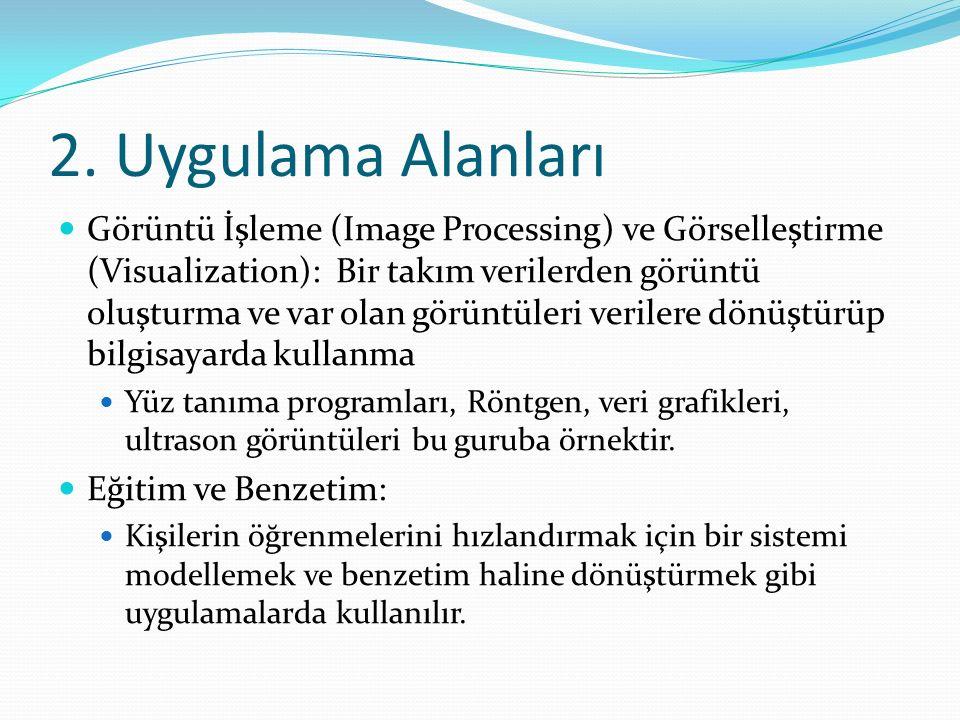2. Uygulama Alanları Görüntü İşleme (Image Processing) ve Görselleştirme (Visualization): Bir takım verilerden görüntü oluşturma ve var olan görüntüle