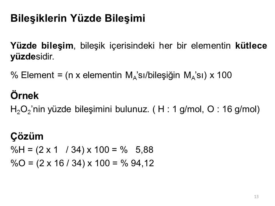 13 Bileşiklerin Yüzde Bileşimi Yüzde bileşim, bileşik içerisindeki her bir elementin kütlece yüzdesidir. % Element = (n x elementin M A 'sı/bileşiğin