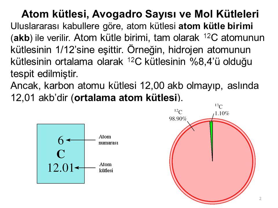3 3 Lityumun izotopları doğada aşağıdaki oranlarda bulunur: 7,42% 6 Li (6,015 akb) 92,58% 7 Li (7,016 akb) 7,42 x 6,015 + 92,58 x 7,016 100 = 6,941 akb Lityumun ortalama atom kütlesi: