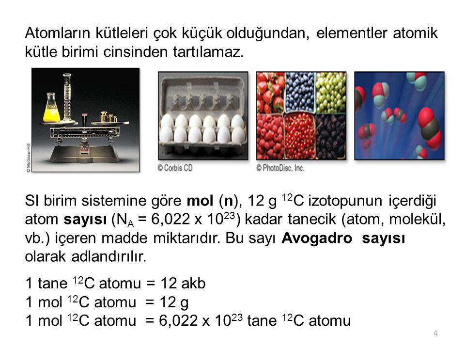 4 Atomların kütleleri çok küçük olduğundan, elementler atomik kütle birimi cinsinden tartılamaz. SI birim sistemine göre mol (n), 12 g 12 C izotopunun