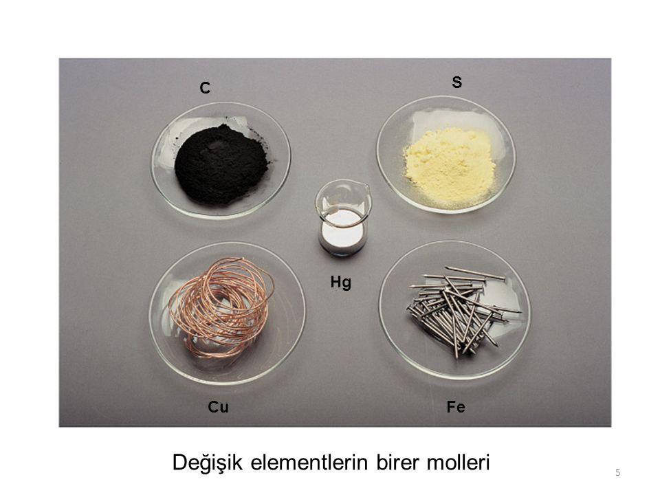 5 C S CuFe Hg Değişik elementlerin birer molleri