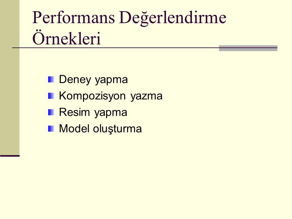 Performans Değerlendirme Örnekleri Deney yapma Kompozisyon yazma Resim yapma Model oluşturma