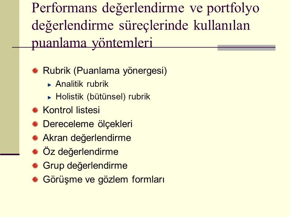 Performans değerlendirme ve portfolyo değerlendirme süreçlerinde kullanılan puanlama yöntemleri Rubrik (Puanlama yönergesi) Analitik rubrik Holistik (