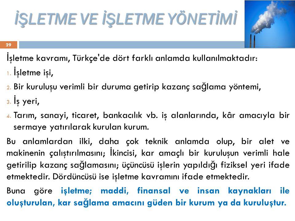 İŞLETME VE İŞLETME YÖNETİMİ 29 İ şletme kavramı, Türkçe'de dört farklı anlamda kullanılmaktadır: 1. İ şletme işi, 2. Bir kuruluşu verimli bir duruma g