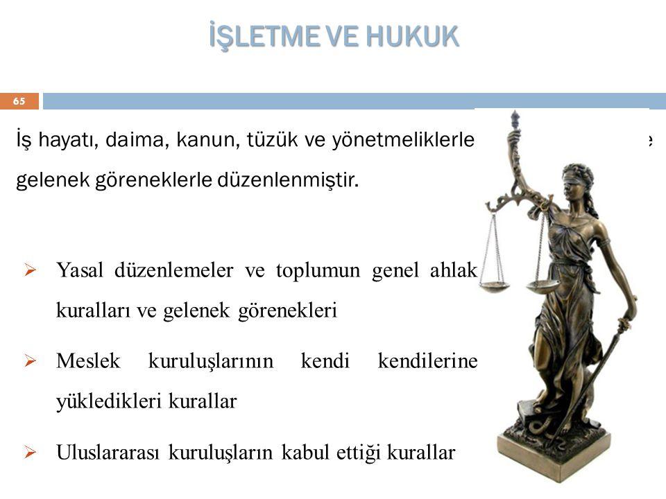 İŞLETME VE HUKUK 65 İş hayatı, daima, kanun, tüzük ve yönetmeliklerle, ahlak kaideleri ve gelenek göreneklerle düzenlenmiştir.  Yasal düzenlemeler ve
