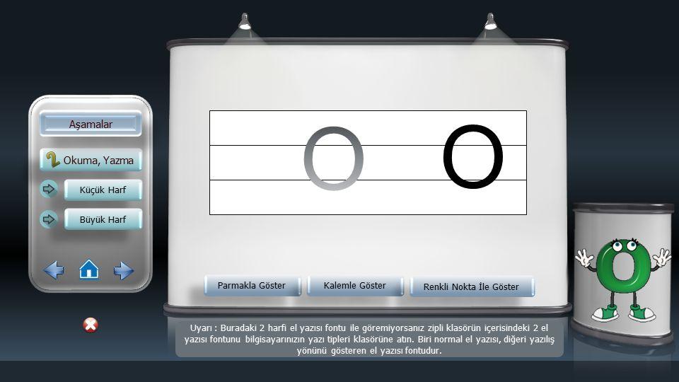 Okuma, Yazma Aşamalar Küçük Harf Büyük Harf Parmakla Göster Kalemle Göster Renkli Nokta İle Göster o Uyarı : Buradaki 2 harfi el yazısı fontu ile göremiyorsanız zipli klasörün içerisindeki 2 el yazısı fontunu bilgisayarınızın yazı tipleri klasörüne atın.