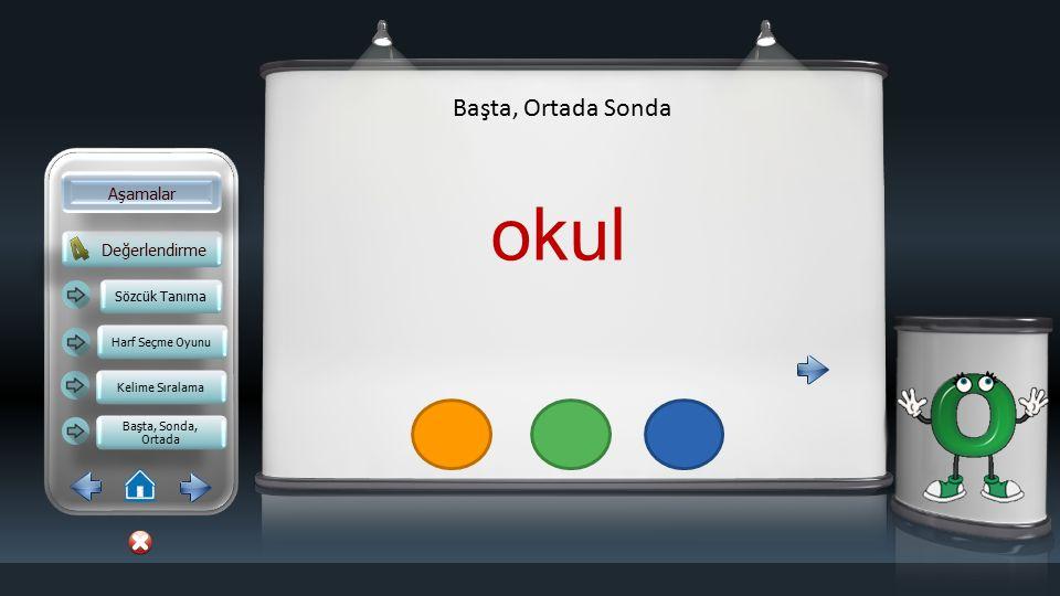 Değerlendirme Aşamalar Başta, Ortada Sonda Sözcük Tanıma Harf Seçme Oyunu Kelime Sıralama Başta, Sonda, Ortada Başta, Sonda, Ortada balon