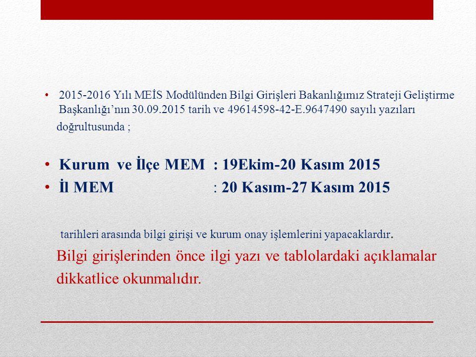 2015-2016 Yılı MEİS Modülünden Bilgi Girişleri Bakanlığımız Strateji Geliştirme Başkanlığı'nın 30.09.2015 tarih ve 49614598-42-E.9647490 sayılı yazıla