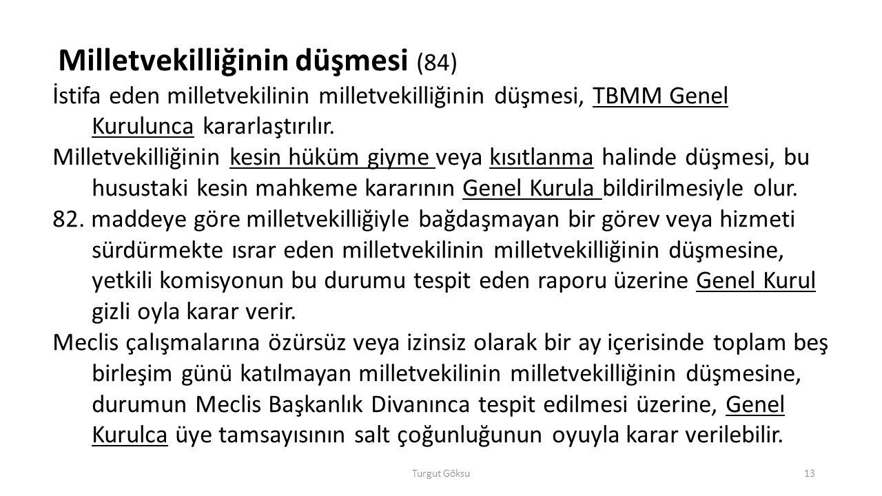 Turgut Göksu13 Milletvekilliğinin düşmesi (84) İstifa eden milletvekilinin milletvekilliğinin düşmesi, TBMM Genel Kurulunca kararlaştırılır. Milletvek