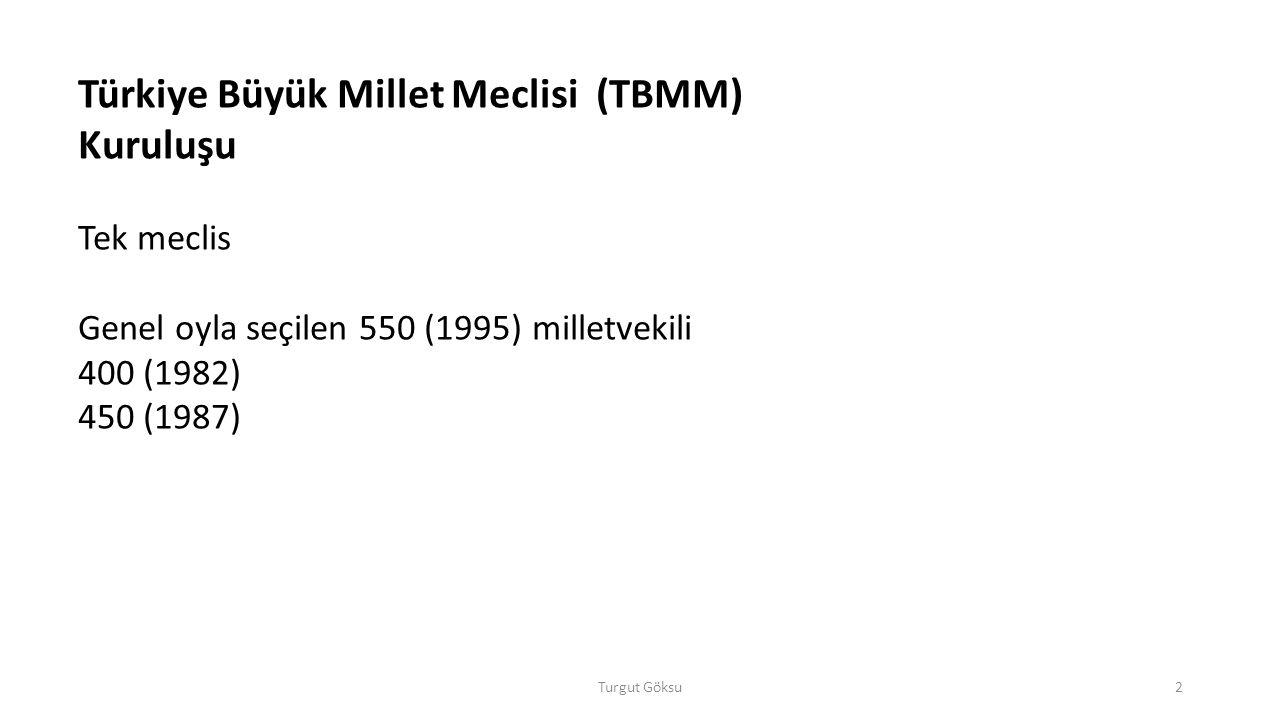 Turgut Göksu2 Türkiye Büyük Millet Meclisi (TBMM) Kuruluşu Tek meclis Genel oyla seçilen 550 (1995) milletvekili 400 (1982) 450 (1987)