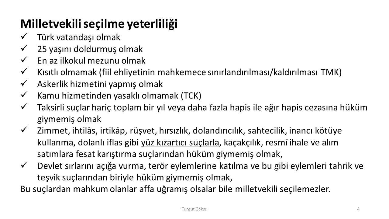 Turgut Göksu4 Milletvekili seçilme yeterliliği Türk vatandaşı olmak 25 yaşını doldurmuş olmak En az ilkokul mezunu olmak Kısıtlı olmamak (fiil ehliyet