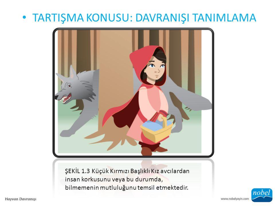 TARTIŞMA KONUSU: DAVRANIŞI TANIMLAMA ŞEKİL 1.3 Küçük Kırmızı Başlıklı Kız avcılardan insan korkusunu veya bu durumda, bilmemenin mutluluğunu temsil etmektedir.
