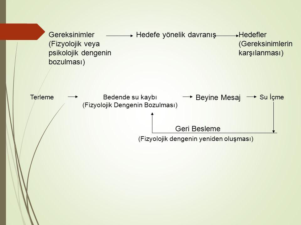 Gereksinimler (Fizyolojik veya psikolojik dengenin bozulması) Hedefe yönelik davranışHedefler (Gereksinimlerin karşılanması) TerlemeBedende su kaybı (Fizyolojik Dengenin Bozulması) Beyine Mesaj Su İçme Geri Besleme (Fizyolojik dengenin yeniden oluşması)