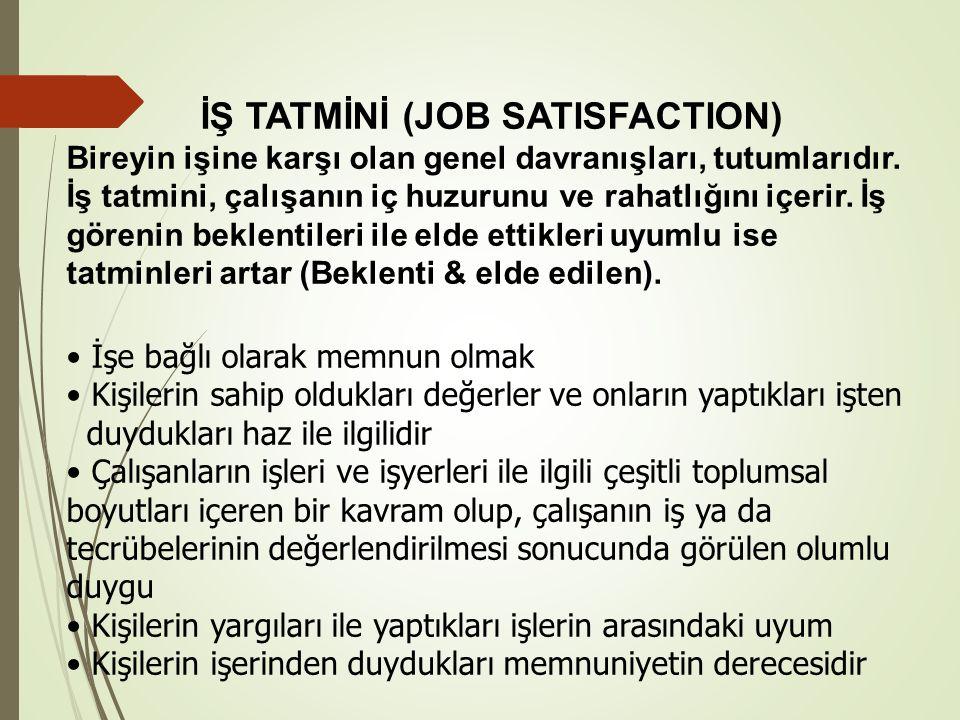 İŞ TATMİNİ (JOB SATISFACTION) Bireyin işine karşı olan genel davranışları, tutumlarıdır.