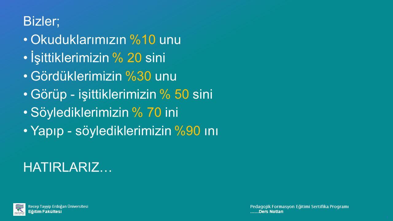 Recep Tayyip Erdoğan Üniversitesi Eğitim Fakültesi Pedagojik Formasyon E ğ itimi Sertifika Programı ……Ders Notları ı Bizler; Okuduklarımızın %10 unu İşittiklerimizin % 20 sini Gördüklerimizin %30 unu Görüp - işittiklerimizin % 50 sini Söylediklerimizin % 70 ini Yapıp - söylediklerimizin %90 ını HATIRLARIZ…