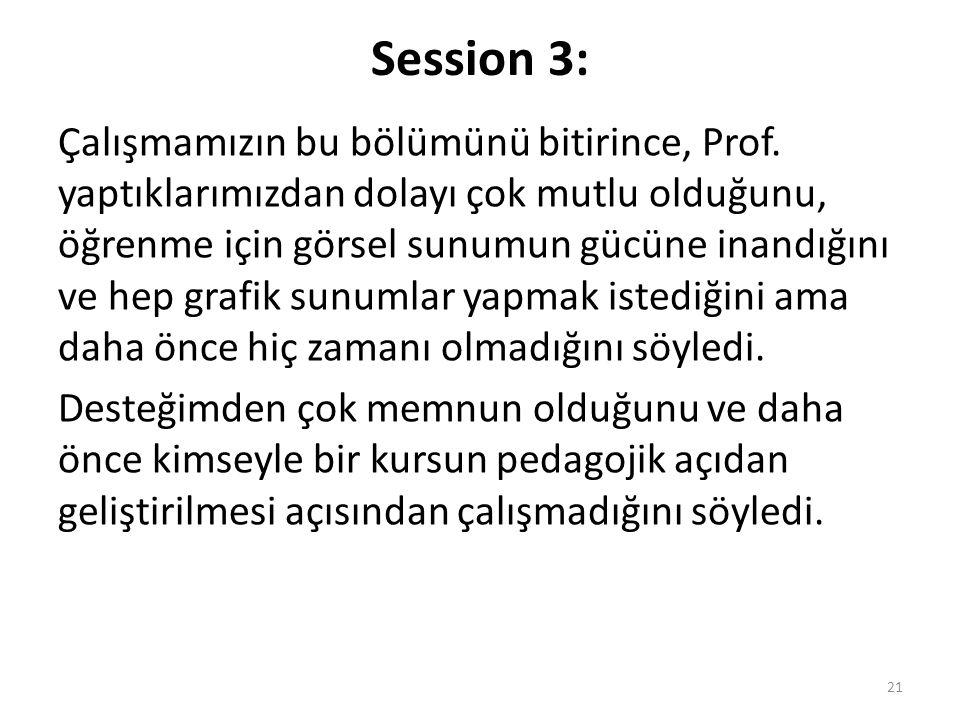 Çalışmamızın bu bölümünü bitirince, Prof.