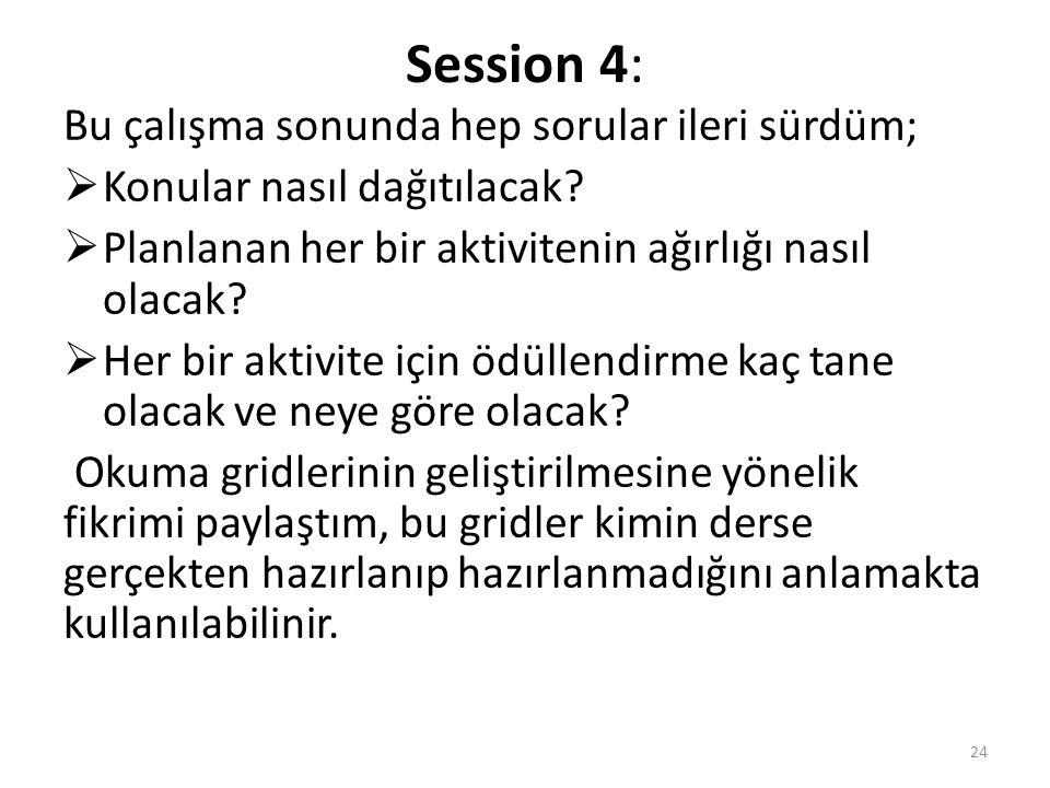 Session 4: Bu çalışma sonunda hep sorular ileri sürdüm;  Konular nasıl dağıtılacak.