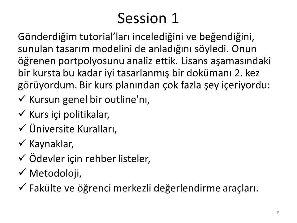 Session 1 Gönderdiğim tutorial'ları incelediğini ve beğendiğini, sunulan tasarım modelini de anladığını söyledi.