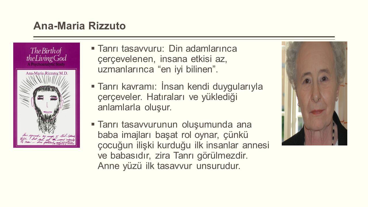 """Ana-Maria Rizzuto  Tanrı tasavvuru: Din adamlarınca çerçevelenen, insana etkisi az, uzmanlarınca """"en iyi bilinen"""".  Tanrı kavramı: İnsan kendi duygu"""