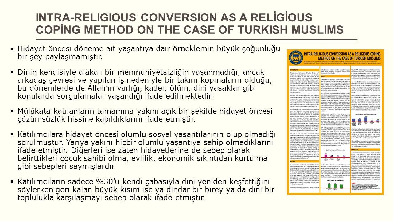 INTRA-RELIGIOUS CONVERSION AS A RELİGİOUS COPİNG METHOD ON THE CASE OF TURKISH MUSLIMS  Hidayet öncesi döneme ait yaşantıya dair örneklemin büyük çoğ