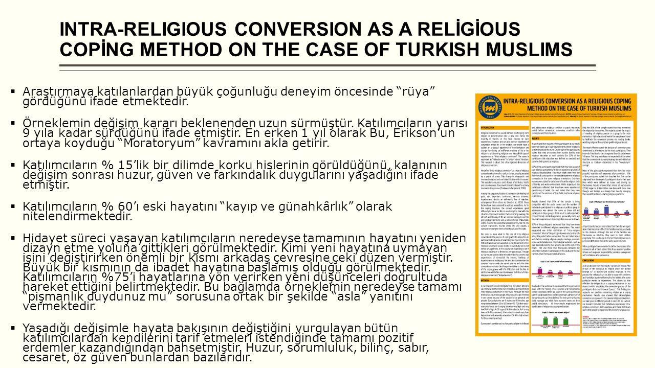 """INTRA-RELIGIOUS CONVERSION AS A RELİGİOUS COPİNG METHOD ON THE CASE OF TURKISH MUSLIMS  Araştırmaya katılanlardan büyük çoğunluğu deneyim öncesinde """""""