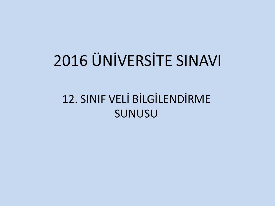 2016 ÜNİVERSİTE SINAVI 12. SINIF VELİ BİLGİLENDİRME SUNUSU
