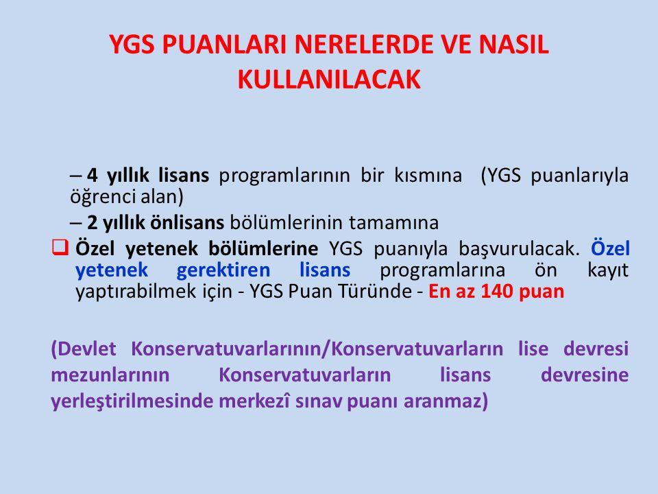 YGS PUANLARI NERELERDE VE NASIL KULLANILACAK – 4 yıllık lisans programlarının bir kısmına (YGS puanlarıyla öğrenci alan) – 2 yıllık önlisans bölümleri