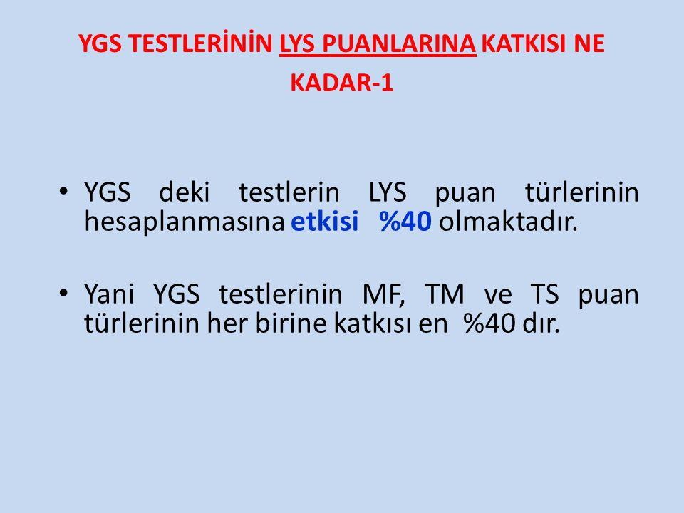 YGS TESTLERİNİN LYS PUANLARINA KATKISI NE KADAR-1 YGS deki testlerin LYS puan türlerinin hesaplanmasına etkisi %40 olmaktadır. Yani YGS testlerinin MF