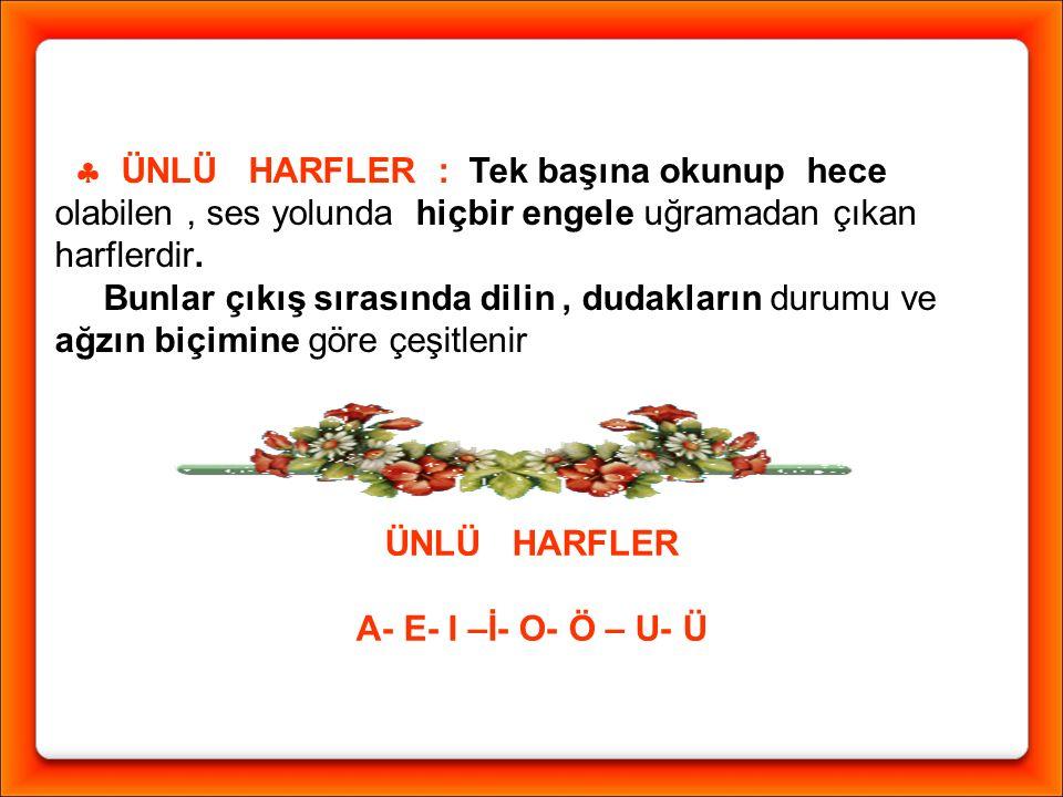 ÜNLÜ HARFLER A- E- I –İ- O- Ö – U- Ü  1) Dilin durumuna göre : Kalınlar ( a - ı - o - u ) İnceler ( e - i - ö - ü ) Dil bu ünlüleri söylerken kalınlaşır.