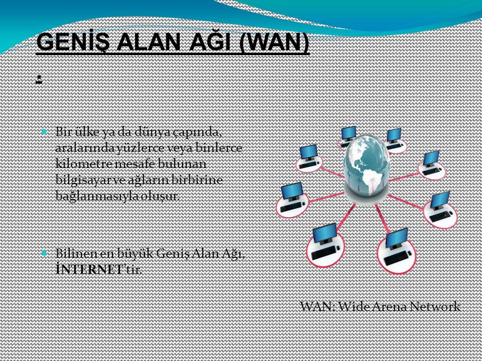 Bir ülke ya da dünya çapında, aralarında yüzlerce veya binlerce kilometre mesafe bulunan bilgisayar ve ağların birbirine bağlanmasıyla oluşur. Bilinen