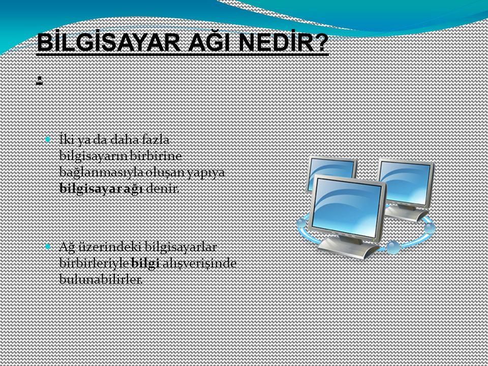İki ya da daha fazla bilgisayarın birbirine bağlanmasıyla oluşan yapıya bilgisayar ağı denir. Ağ üzerindeki bilgisayarlar birbirleriyle bilgi alışveri