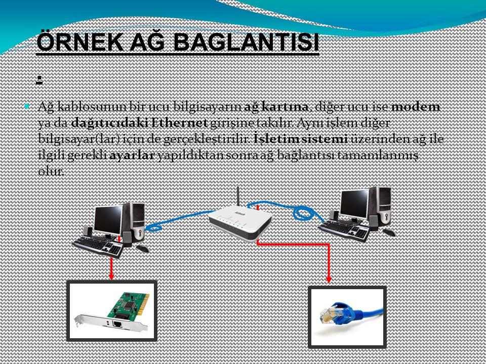 Ağ kablosunun bir ucu bilgisayarın ağ kartına, diğer ucu ise modem ya da dağıtıcıdaki Ethernet girişine takılır. Aynı işlem diğer bilgisayar(lar) için