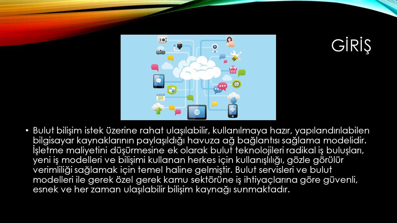 Bulut bilişim istek üzerine rahat ulaşılabilir, kullanılmaya hazır, yapılandırılabilen bilgisayar kaynaklarının paylaşıldığı havuza ağ bağlantısı sağl