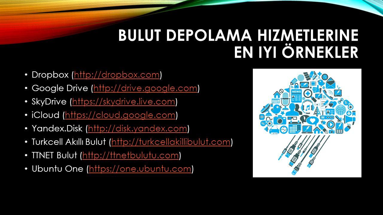 BULUT DEPOLAMA HIZMETLERINE EN IYI ÖRNEKLER Dropbox (http://dropbox.com)http://dropbox.com Google Drive (http://drive.google.com)http://drive.google.c