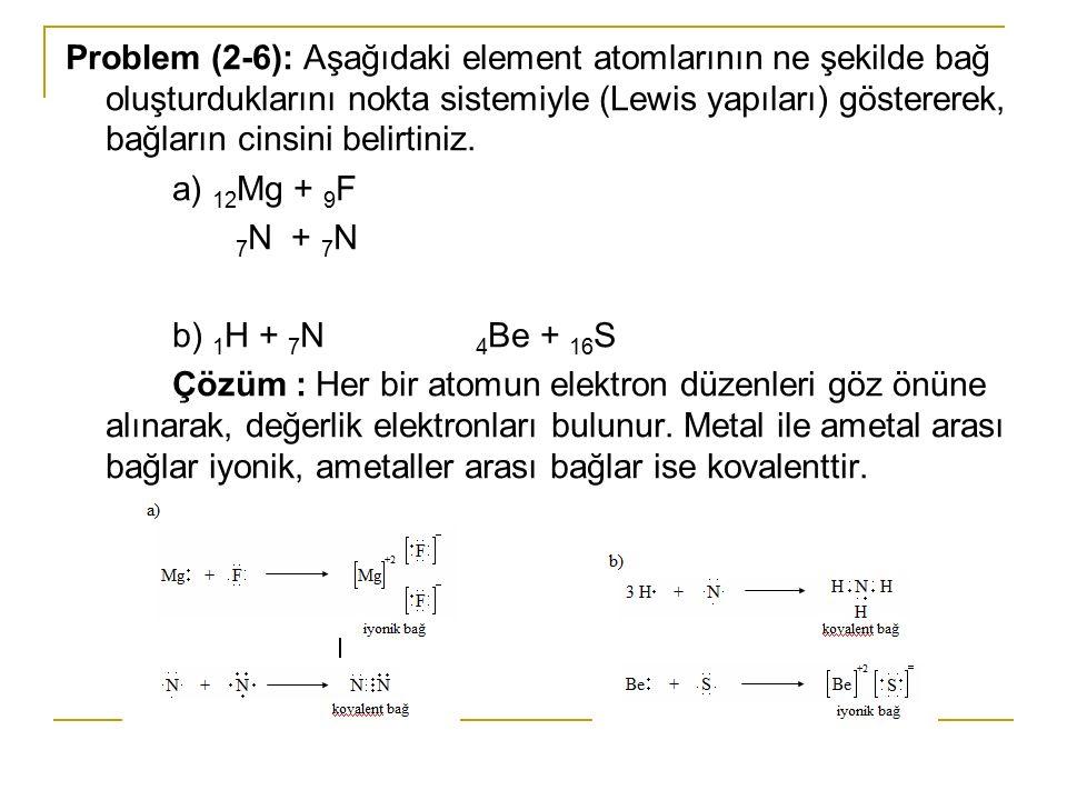 Problem (2-6): Aşağıdaki element atomlarının ne şekilde bağ oluşturduklarını nokta sistemiyle (Lewis yapıları) göstererek, bağların cinsini belirtiniz